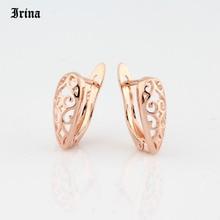 Pendientes de aro calados de estilo Retro para mujer, aretes de aro calados de Color oro rosa 585, joyería para fiesta de disfraces para mujer Gir