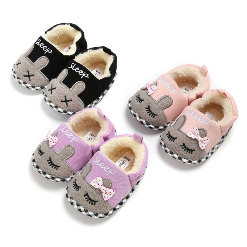 Baby Kids Girls Prewalker Shoes Cute Cartoon Animal Newborn Infant First Walkers Winter Warm Plush Soft Anti-slip Baby Shoes