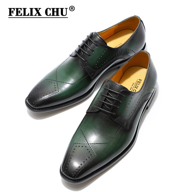 FELIX CHU Luxury Mens Dress Shoes Genuine Leather Square Brogue Derby Shoes Green Black Lace Up Business Formal Shoes Leather