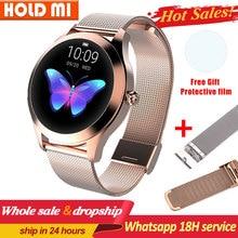 KW10 스마트 워치 여자 안 드 로이드 IOS 피트 니스 팔찌 Smartwatch pk H2 h1에 대 한 IP68 방수 심장 박동 모니터링 블루투스