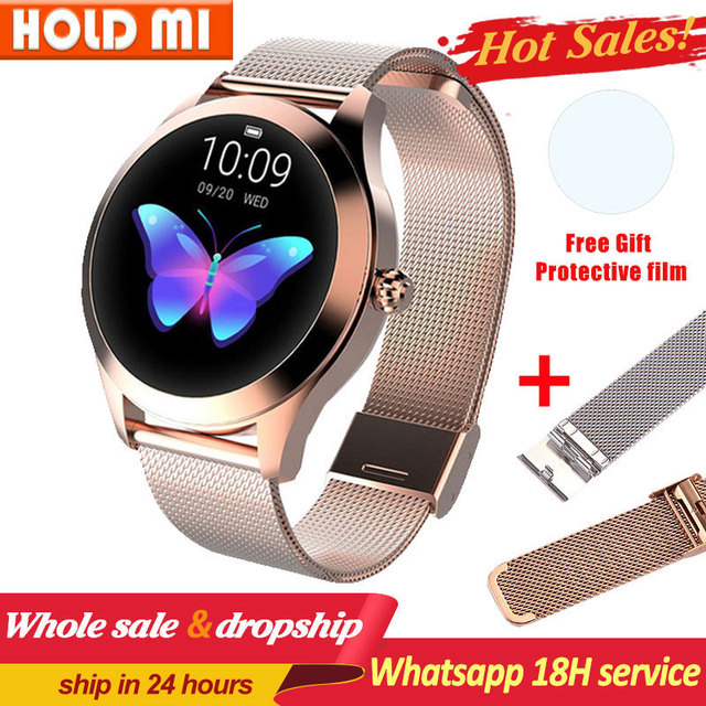 KW10 חכם שעון נשים IP68 עמיד למים ניטור קצב לב Bluetooth עבור אנדרואיד IOS כושר צמיד Smartwatch pk H2 H1