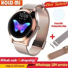 Kw10 relógio inteligente mulher ip68 à prova dip68 água monitoramento de freqüência cardíaca bluetooth para android ios pulseira de fitness smartwatch pk h2 h1