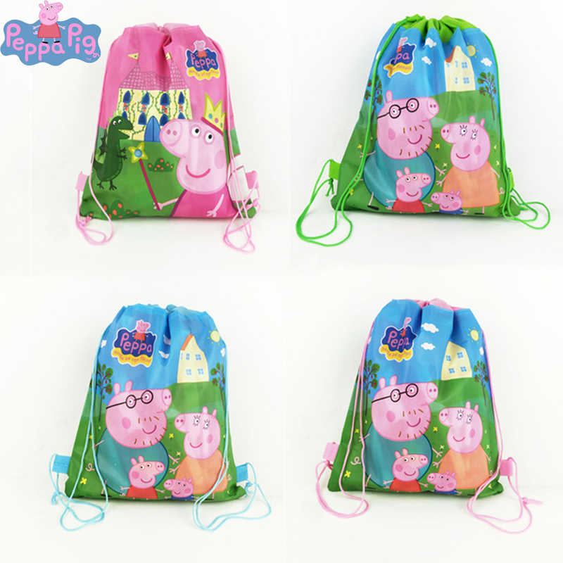 Peppa Pig Backpack Bundle Pocket Storage Bag Non-woven Fabric Shopping Bag George Family Anmie Figure Toys For Children