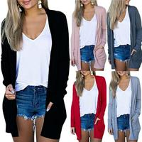 Solid Women Cardigans Long Sleeve Loose Mid Length Knittwear Casual Sweater Cardigan Female Thin Knitted Coat Cardigan Women 2