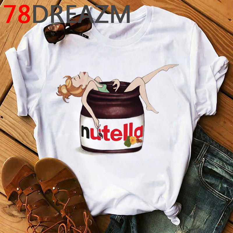 Nutella T Shirt Women Kawaii Summer Top Plus Size T-shirt Unisex Funny Cartoon Graphic Tshirt Korean Style Top Tees Female
