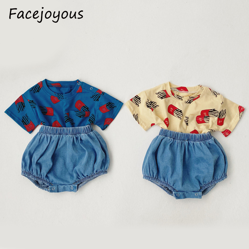 2020 Summer New Baby Clothing Set Toddler Infant Girls Cartoon Print T Shirt Baby Boys Pp Pants Denim Shorts Clothes Sets