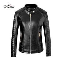 2019 New Ladies Leather Jacket Fashion Spring Autumn Long Sleeved Zipper Plus Size Faux Leather Coat Women Biker Moto Jackets