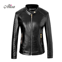 2019 New Ladies Leather Jacket Fashion Spring Autumn Long Sleeved Zipper Plus Size Faux Leather Coat Women Biker Moto Jackets