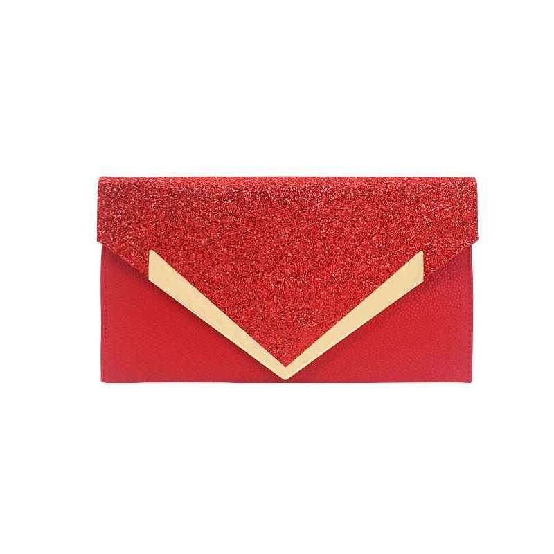 Для женщин блеск вечерний клатч женская Свадебная вечеринка Сумки из натуральной кожи для выпускного вечера, с цепочкой кошелек C90E - Цвет: Красный