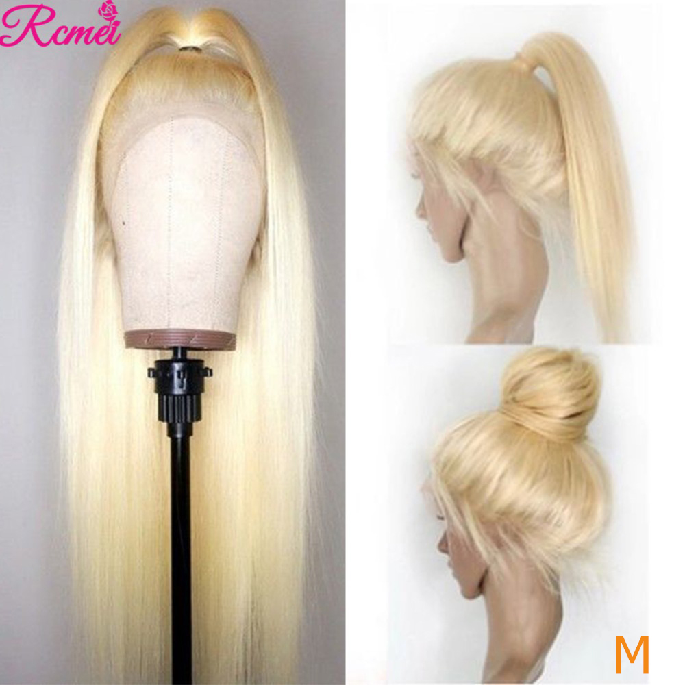613 360 Lace Frontal Wig Peruvian Straight Blonde Lace front Human Hair Wigs For Black Pre-Plucked With Baby Hair 150% Remy Wig image