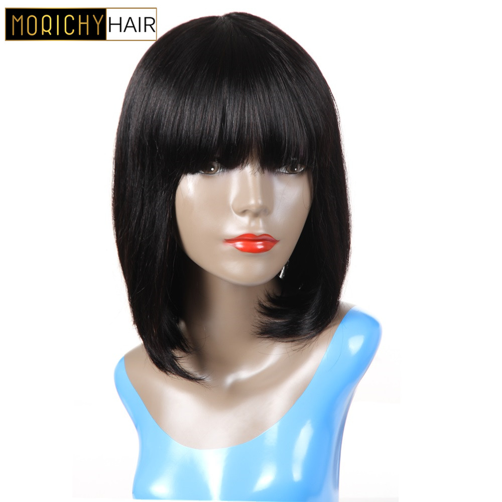 Morichy Human Bangs Wig  For Women Straight Bob Wigs Non Remy Hair Natural Black Color