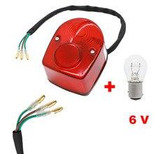 6V Luz Traseira Luz Da Cauda Parar Brake Lamp W/Lâmpada Para Honda CT70 Z50 SL70 SL90 SL100 SL125 SL175 SL350 70 90 SL 100 125 175 350