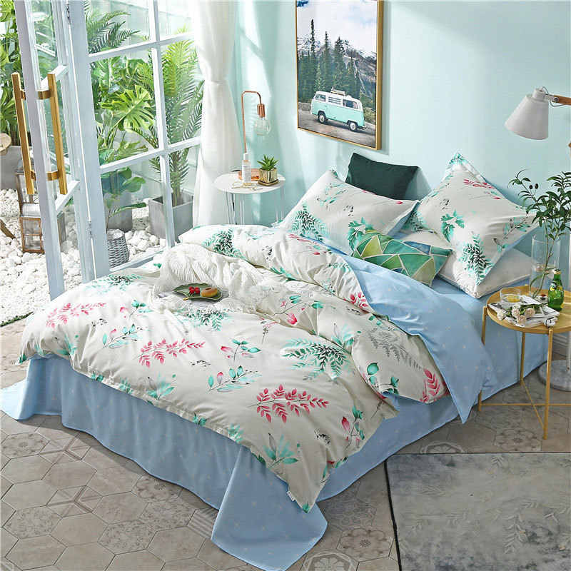 Leaf 4pcs Girl Boy Kid Bed Cover Set Cartoon Duvet Cover Adult Child Bed Sheets And Pillowcases Comforter Bedding Set 2TJ-61002