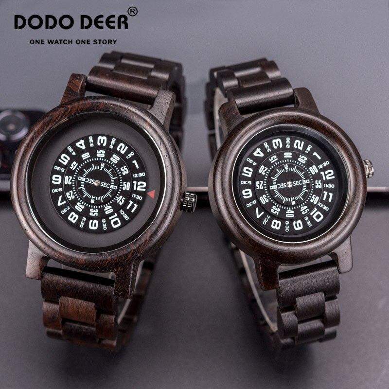 Relojes De Pareja DODO DEER Wood Watch For Men And Women Fashion Cool Compass Pointer Quartz Watch Valentine Gift Dropshipping