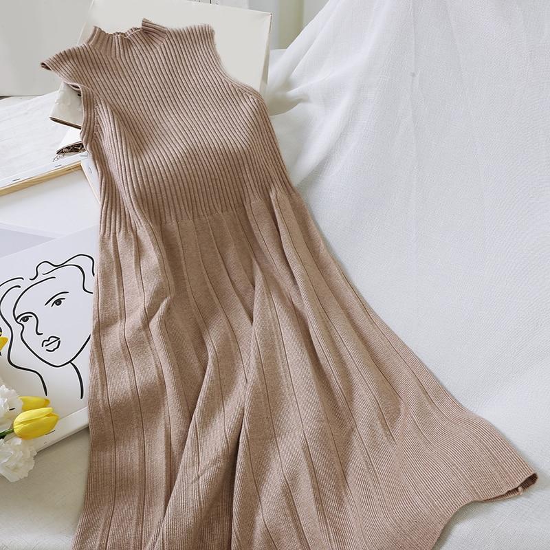 Casual Vintage Women Solid High Waist Pleated A-Line Dress Winter Tank Sleeveless O-Neck Elegant Mid-Calf Dresses Vestidos