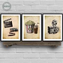 Cinema artístico decorativo para parede, quadro de parede com pintura artística de cinema sala de estar