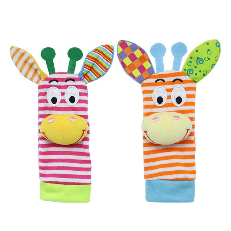 Newborn Infant Baby Soft Plush Wrist Strap Toys Infant Cute Cartoon Bell Rattles Children Kids Educational Toys