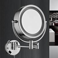 Bathroom folding telescopic beauty mirror LED 3 magnification mirror mirror light make up light led mirror cosmetic mirror