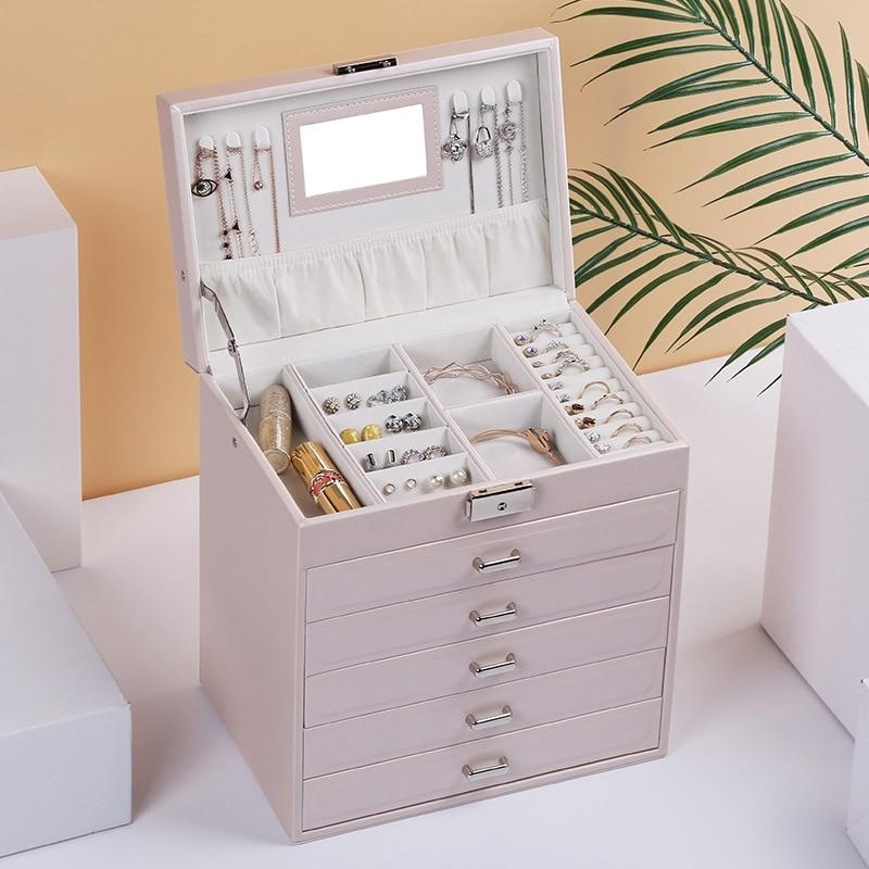 Grande boîte à bijoux montre boîtier perles boucles d'oreilles bagues bijoux mallette de rangement en cuir bibelot organisateur - 6