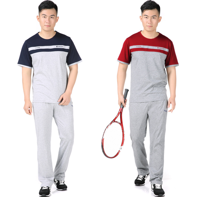 Sports Set Summer Middle-aged MEN'S Short-sleeved Trousers Large Size Loose Casual Sports Daddy Clothes