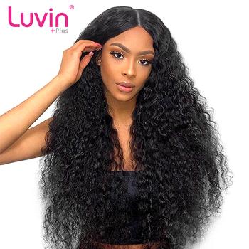 Luvin OneCut włosy głęboka fala 360 koronki Frontal peruka 250 gęstości wstępnie oskubane z dzieckiem włosy brazylijski kręcone ludzkie włosy peruki tanie i dobre opinie Remy włosy Średnia wielkość Brazylijski włosy Średni brąz Wszystkie kolory Swiss koronki