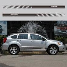 2 sztuk naklejki na karoserię samochodu dla Dodge calibre drzwi samochodu boczne paski spódnica naklejki modny samochód stylizacji