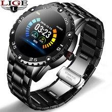 Lige novo relógio inteligente homem ip67 à prova dip67 água freqüência cardíaca rastreador de fitness pedômetro para android ios banda aço esportes relógio inteligente