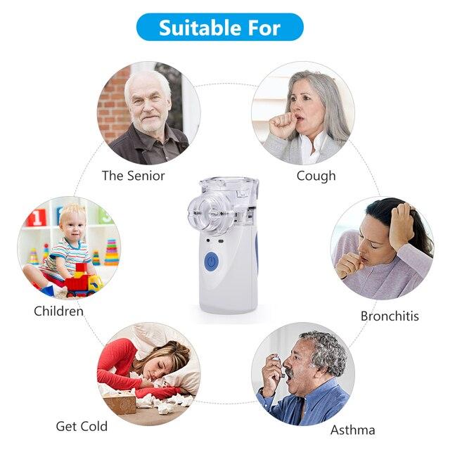 Health Care Mini Handheld portable Inhale Nebulizer USB silent Ultrasonic inalador nebulizador Children Adult Medical Automizer 2