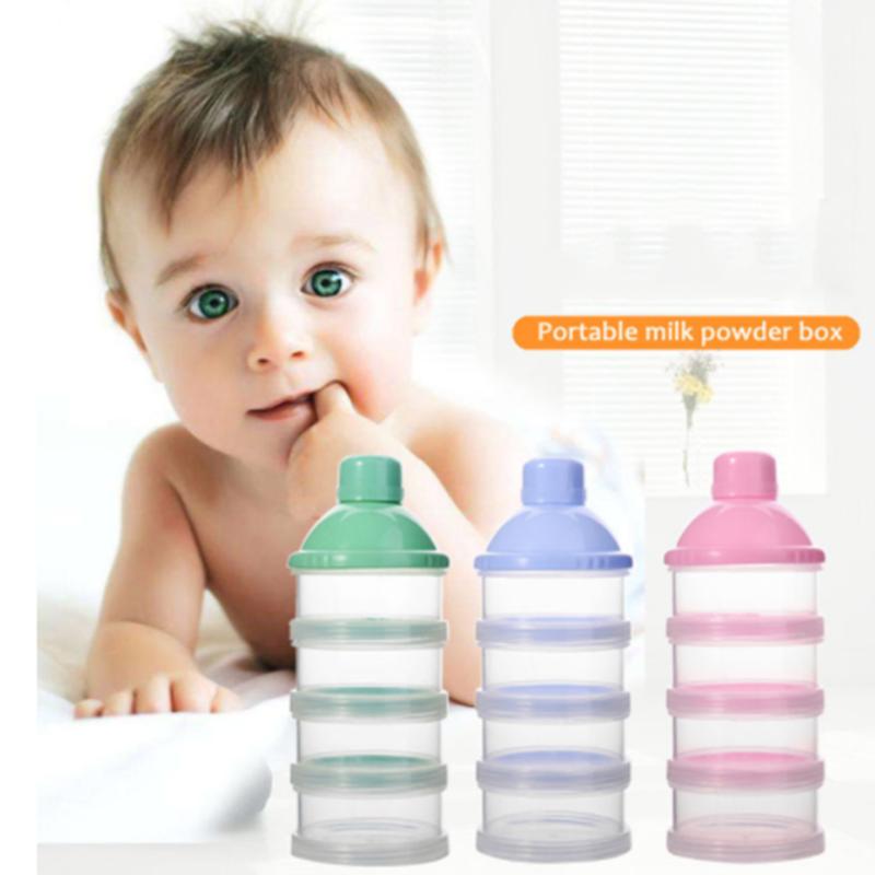 1PCs Portable Milk Powder Formula Dispenser Food Container Feeding Box for Baby Kids Toddler Four Grid Baby Food Storage Box