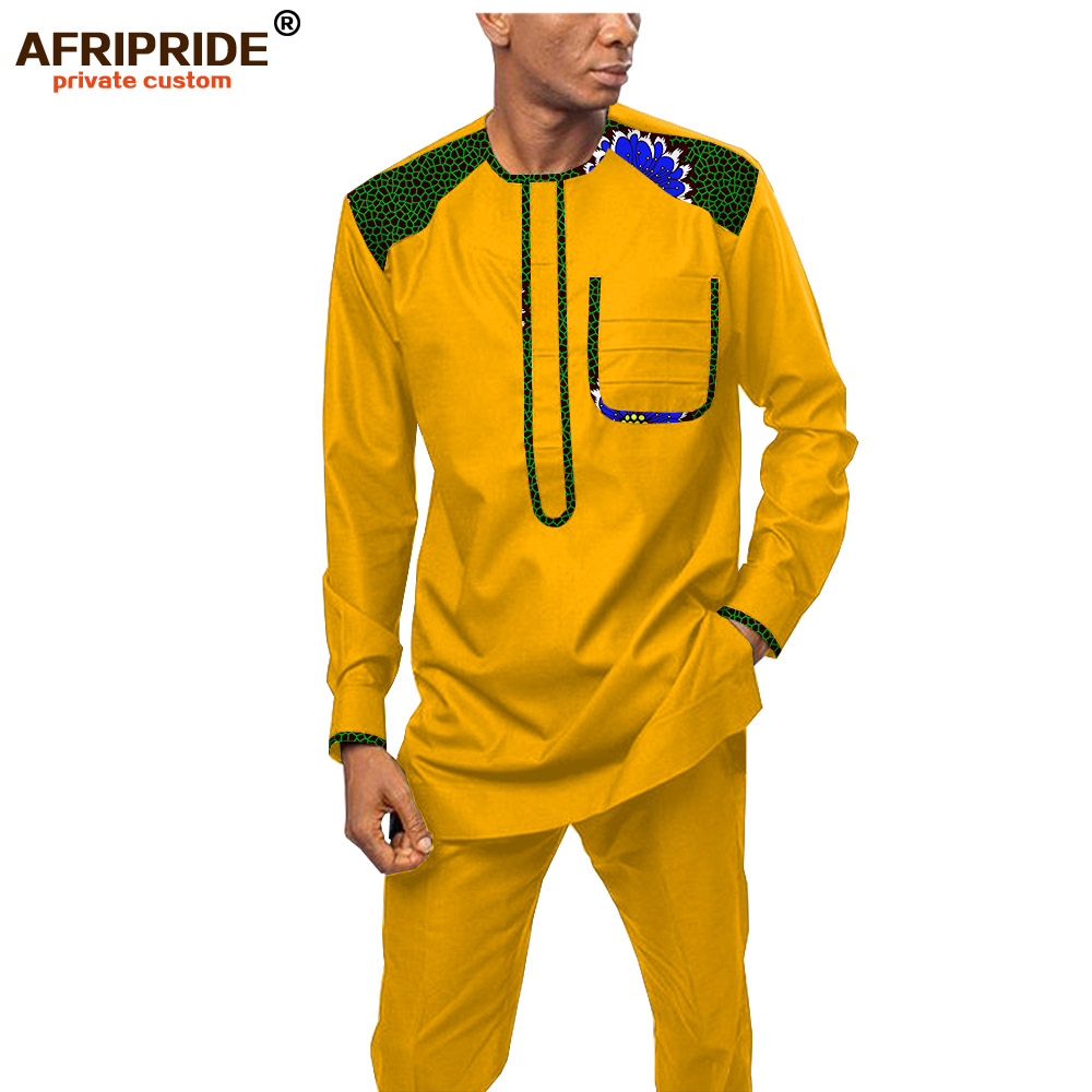 Dashiki Men African Clothing Print Shirts And Ankara Pants Set Tribal Tracksuit Outwear Wax Attire 2 Piece AFRIPRIDE A1916062