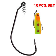 купить 10pcs/bag Crank Hook With Lock Pin High Carbon Crank Hook Lead Jig Head Fish Hook For Soft Fishing Bait Steel Hooks дешево