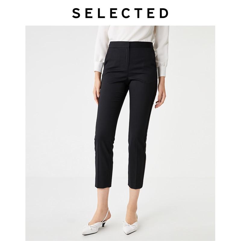 SELECTED Women's Cotton Woolen Tight-leg Black Pants S|419314514