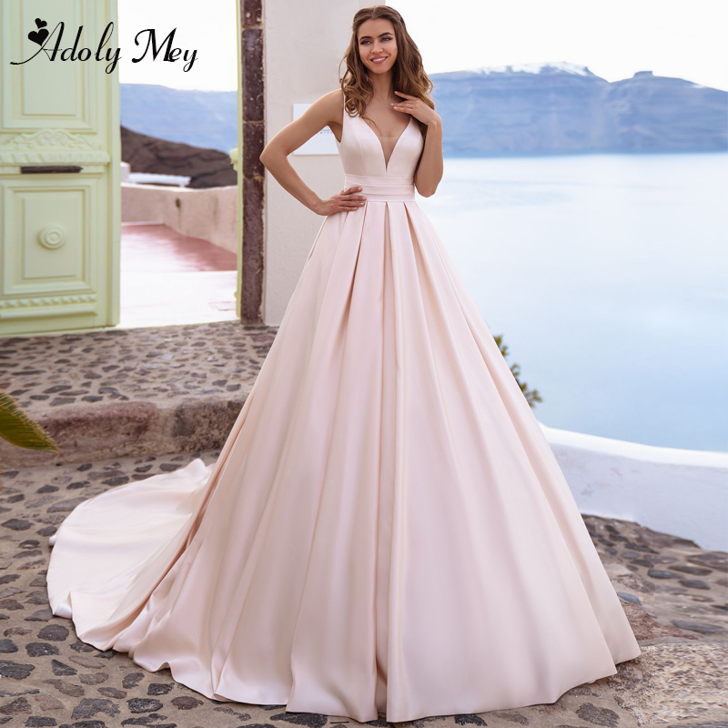 Adoly Mey New Arrival Charming V-Neck Backless A-Line Wedding Dress 2020 Gorgeous Matte Satin Chapel Train Princess Wedding Gown