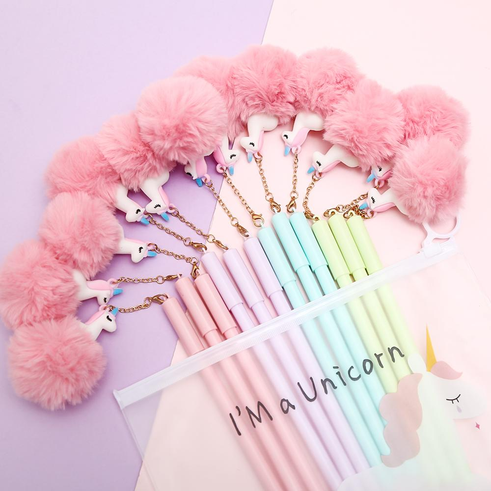 8-120Pcs/pack Funny Cool Woolen Fluffy Gel Pens Blue Ink Pendant School Office Stationery Kawaii Pencil Bag Case Cute Thing