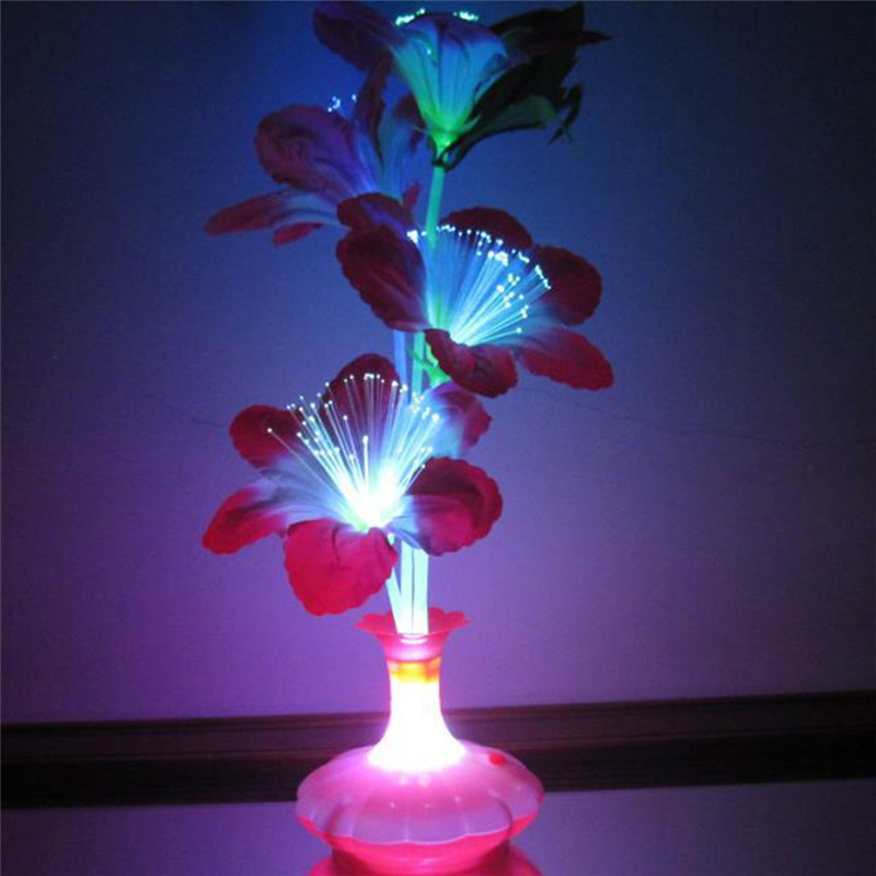 Drop Shipping 1PC Decoration Stage Fiber Flower Vase Optical Fiber LED Lamp Valentine's Day Night Light Home Decor