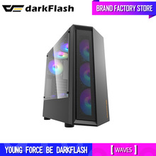 Darkflash Desktop-Computer Fall DIY Staub Proof Stumm Gaming PC Gehäuse Transparent Acryl ATX Mid Turm Chassis