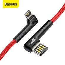 Baseus 90 度usbケーブルiphone 11 プロマックスxs xr 2.4A肘高速充電se 8 7 プラスゲームled充電ケーブル
