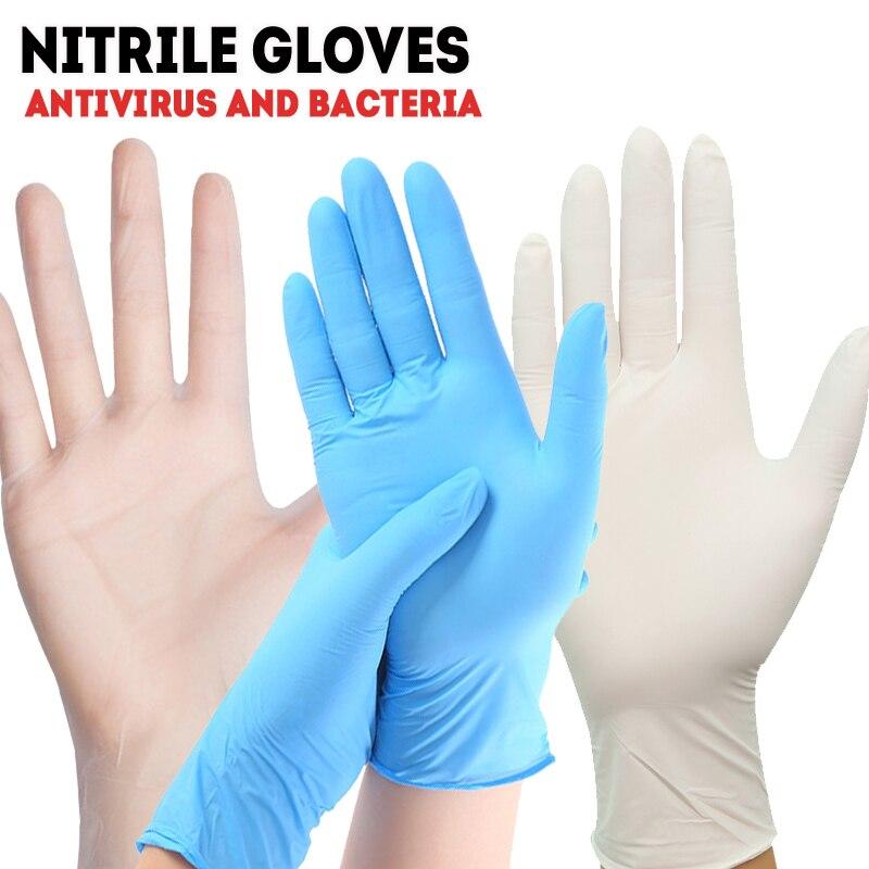 Nitrile Disposable Latex Free Gloves Box 50/100PCSSet Medical Anti Virus Food Butcher Laboratory Work Safety Black Gloves AF012