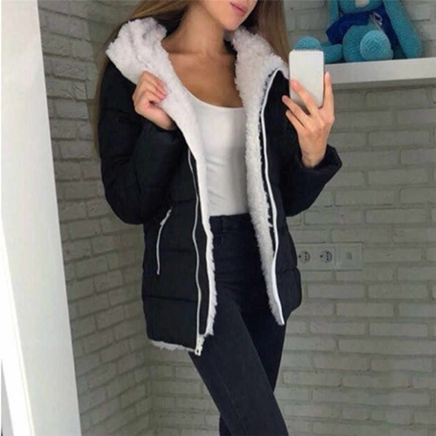 2019 Otoño e Invierno nueva moda de gran oferta de moda de mujeres invierno espesar abrigos cálidos manga larga chaqueta con cremallera
