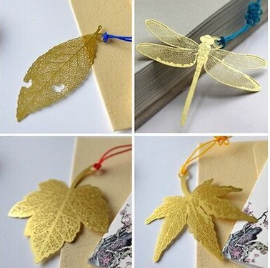 Creative Exquisite Gold Fine Lines Leaf Vein Metal Bookmark Chinese Knot Series With Card Envelope