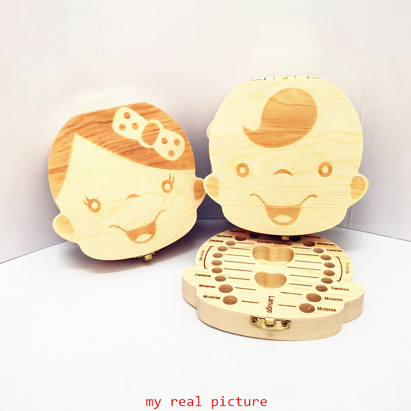 Wooden Baby Teeth Storage Box English Russian Spanish French Italian Kids Teeth Umbilical Lanugo Organizer Gift Keepsakes Save