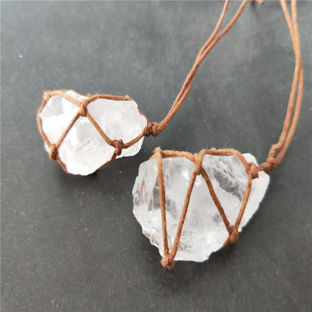 Natural Fluorite Pendant Clear White Quartz Natural Crystal Stone Crafts Healing Quartz Stone Craft Decoration