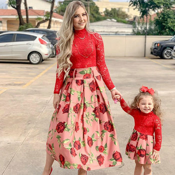 Long Sleeve Red Lace Wedding Dress For Family Look Matching Mommy And Me Clothes New Year Mother And Daughter Dresses Outfits
