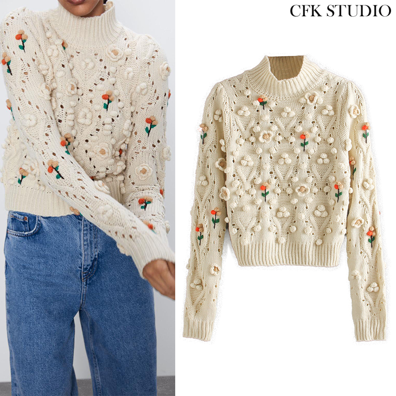 Za Women Sweater With O-neck Embroidery Knitted Casual Pullover Top