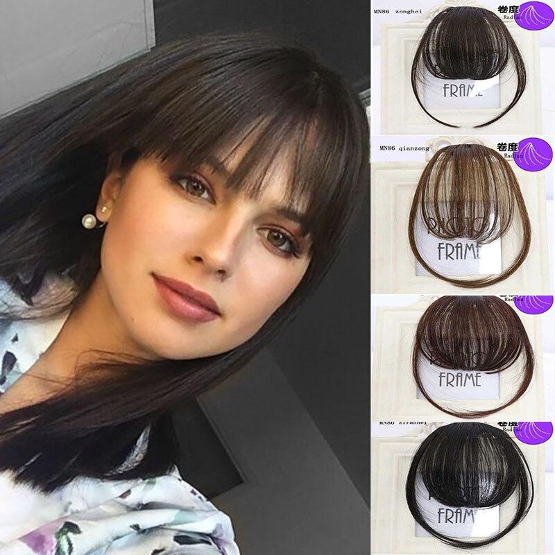 LVHAN Air Bangs Pure Bangs Hair Extension Synthetic Wig Natural Black Light Brown Dark Brown Black High Temperature Fiber
