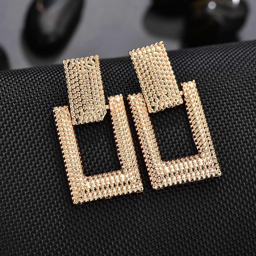 Модные женские сережки 2019 золотого/серебряного цвета, большие размеры, металлические Висячие серьги геометрической формы, массивные серьг...