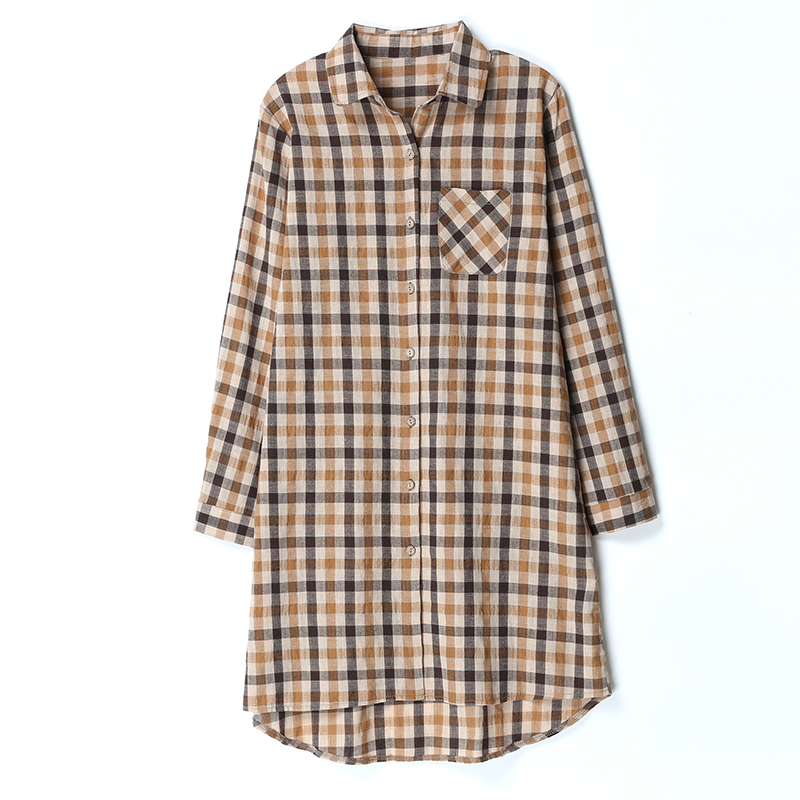 Vrex 2020 New Arrival Women clothing Autumn and winter Retro Decent Women Shirt Lattice Loose Edition Women Lattice Dress woman
