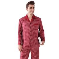Luxury 100% Natural Silk Men Pajamas Men's mulberry silk Pyjama Set Long Sleeved Pants Suit Sleepwear Nightwear Home Clothing