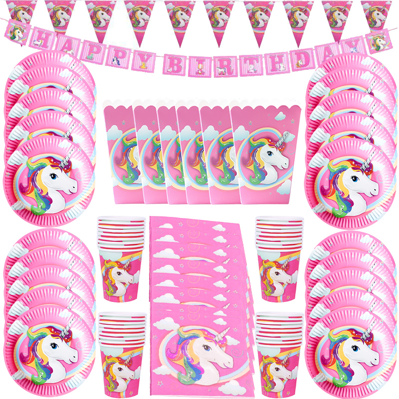 WEIGAO Happy Birthday Party Lunch Disposable Tableware Sets Pink/White Unicorn Theme Party Kits Unicorn Birthday Baby Shower Kit