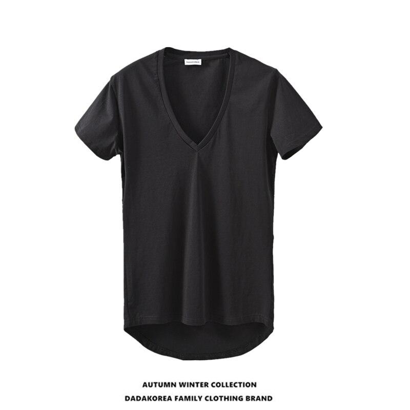 DADAKOREA Summer Solid Color Front Short Back Long Deep V-neck Sexy Men's Short-sleeved T-shirt Irregular Undershirt T-shirt